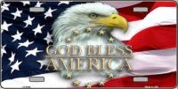 GOD BLESS AMERICA EAGLE NOVELTY  METAL LICENSE PLATE LP-5348