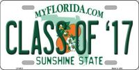 CLASS OF '17 FLORIDA NOVELTY  METAL LICENSE PLATE LP-6018