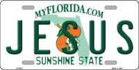 JESUS FLORIDA NOVELTY  METAL LICENSE PLATE LP-6037