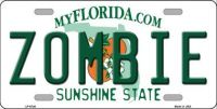 ZOMBIE FLORIDA NOVELTY METAL LICENSE PLATE LP-6746