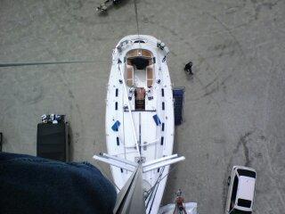 Beneteau 45 from the mast head doing mast head work