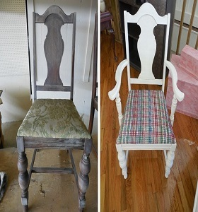 Re-upholstered and chalk painted chair