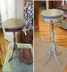 Chalk painted small table