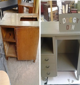 Chalk painted sewing desk