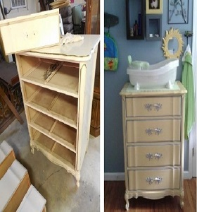 French Provincial chest chalk painted