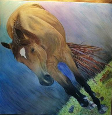 Near lifesize horse in oil pastel