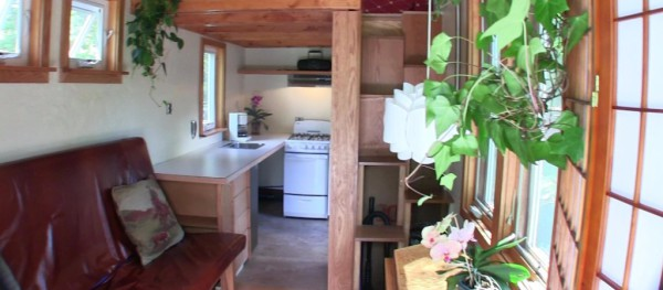 Picture of the Interior of the Tiny Home showing the Kitchen and Counter