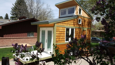 View of the Tiny House with the Loft Up and Deck Down