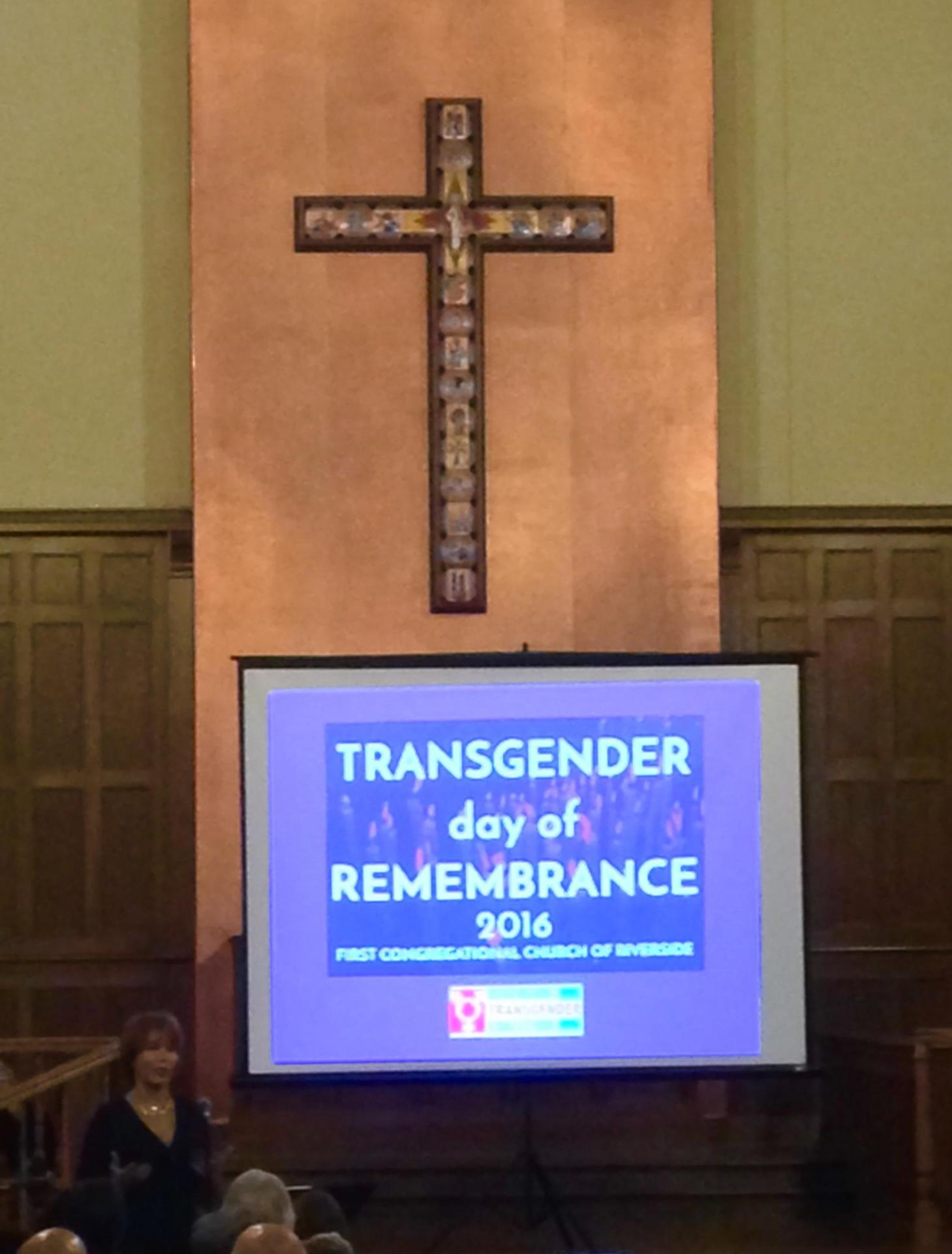 November 19, 2016: Riverside Transgender Day of Remembrance