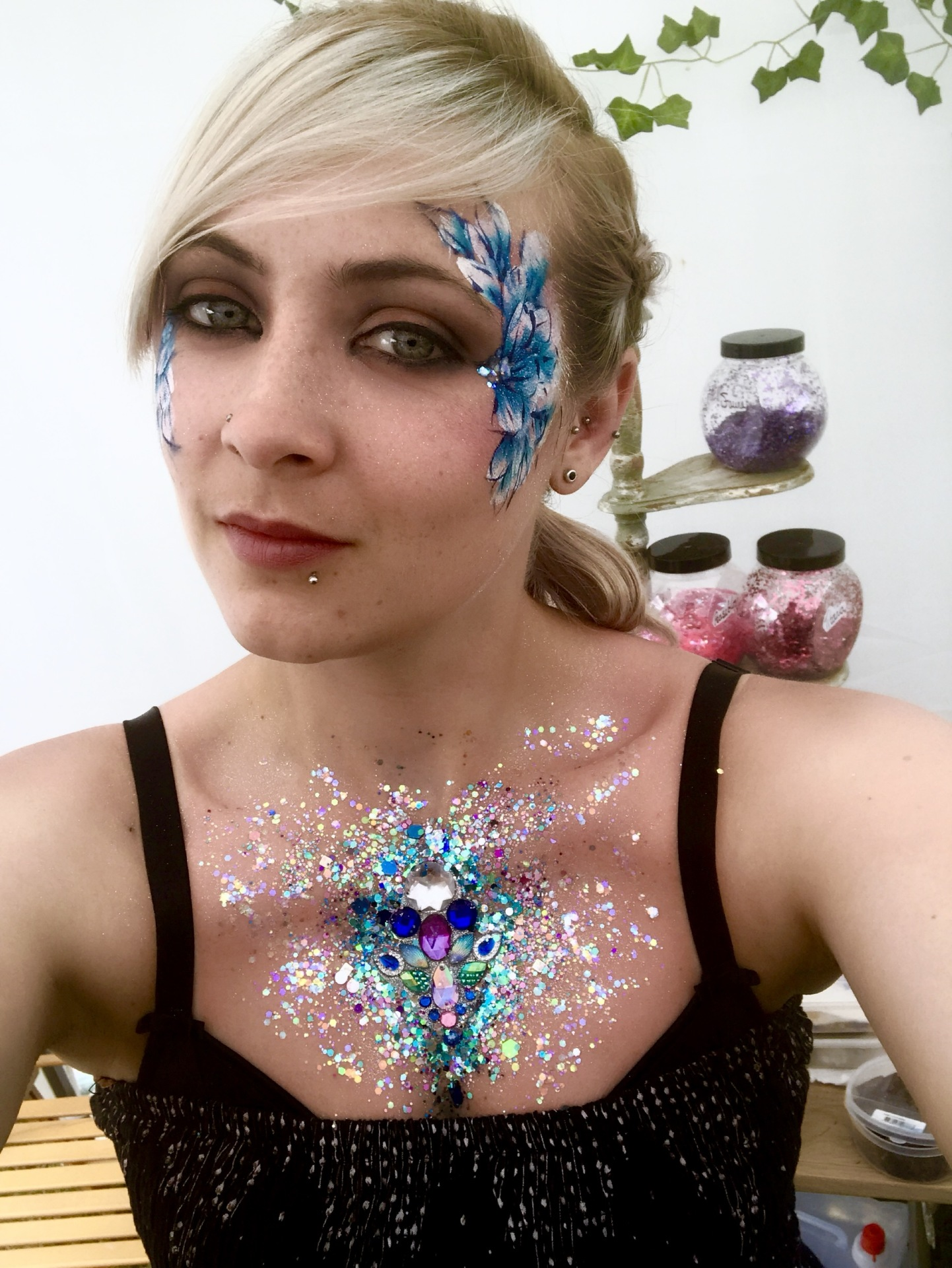 Glitter and Floral Face Paint