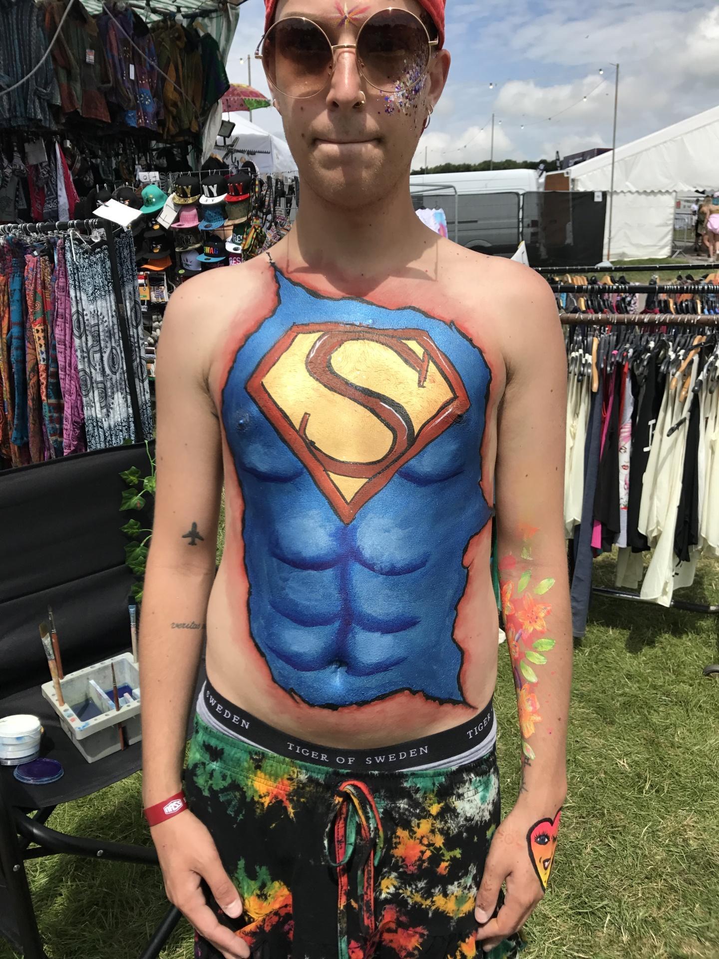 Superman Body Art