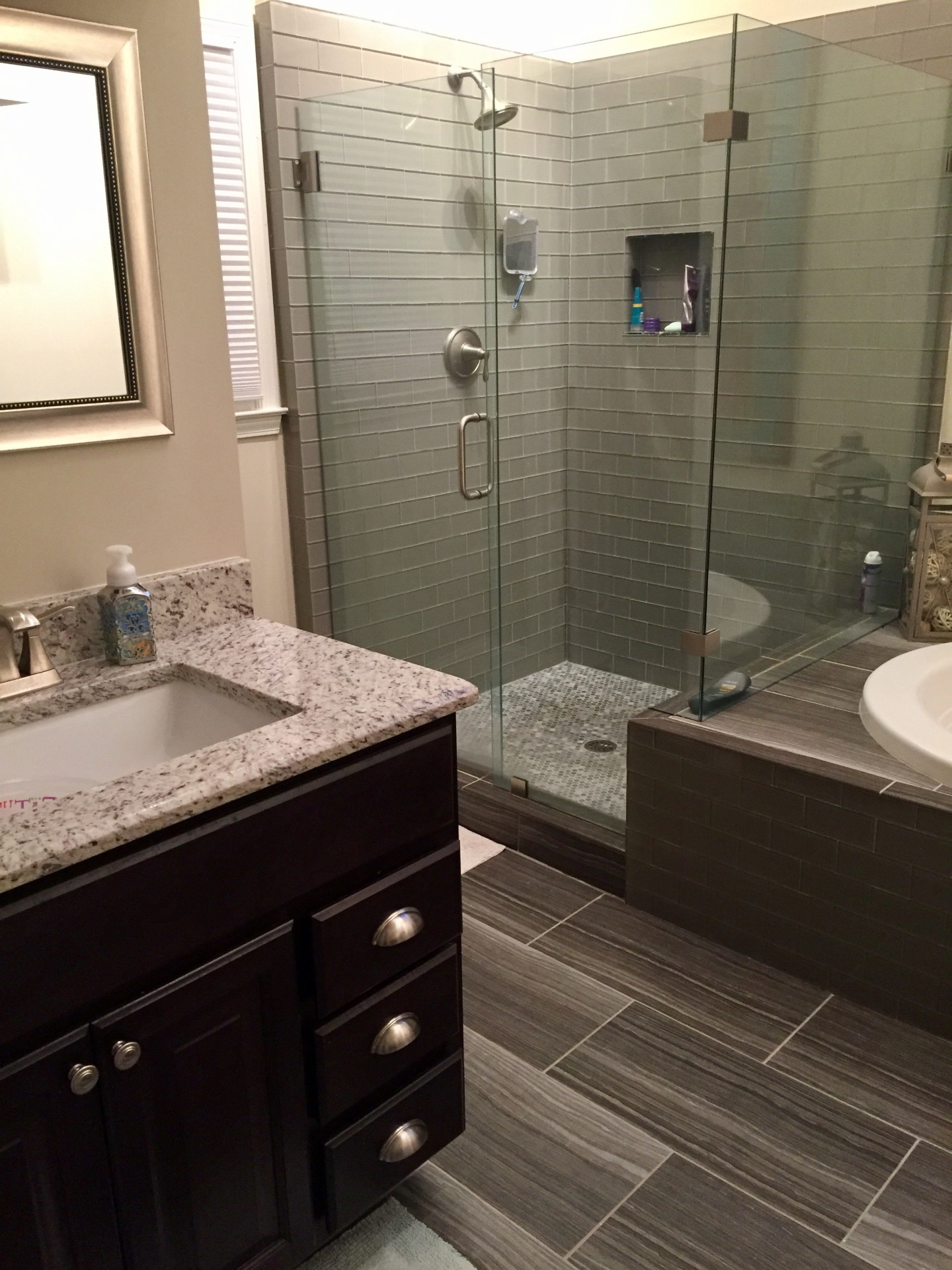 bathroom, shower, his and hers, seperate sinks, glass,