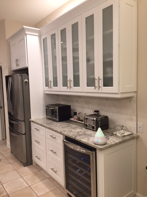 wine, cooler, granite, white, glass, cabinets, new, stainless steel,
