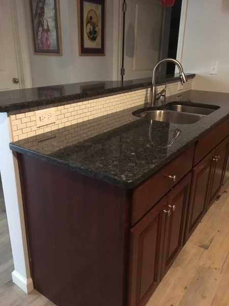 sink, granite, cherry, kitchen, basement