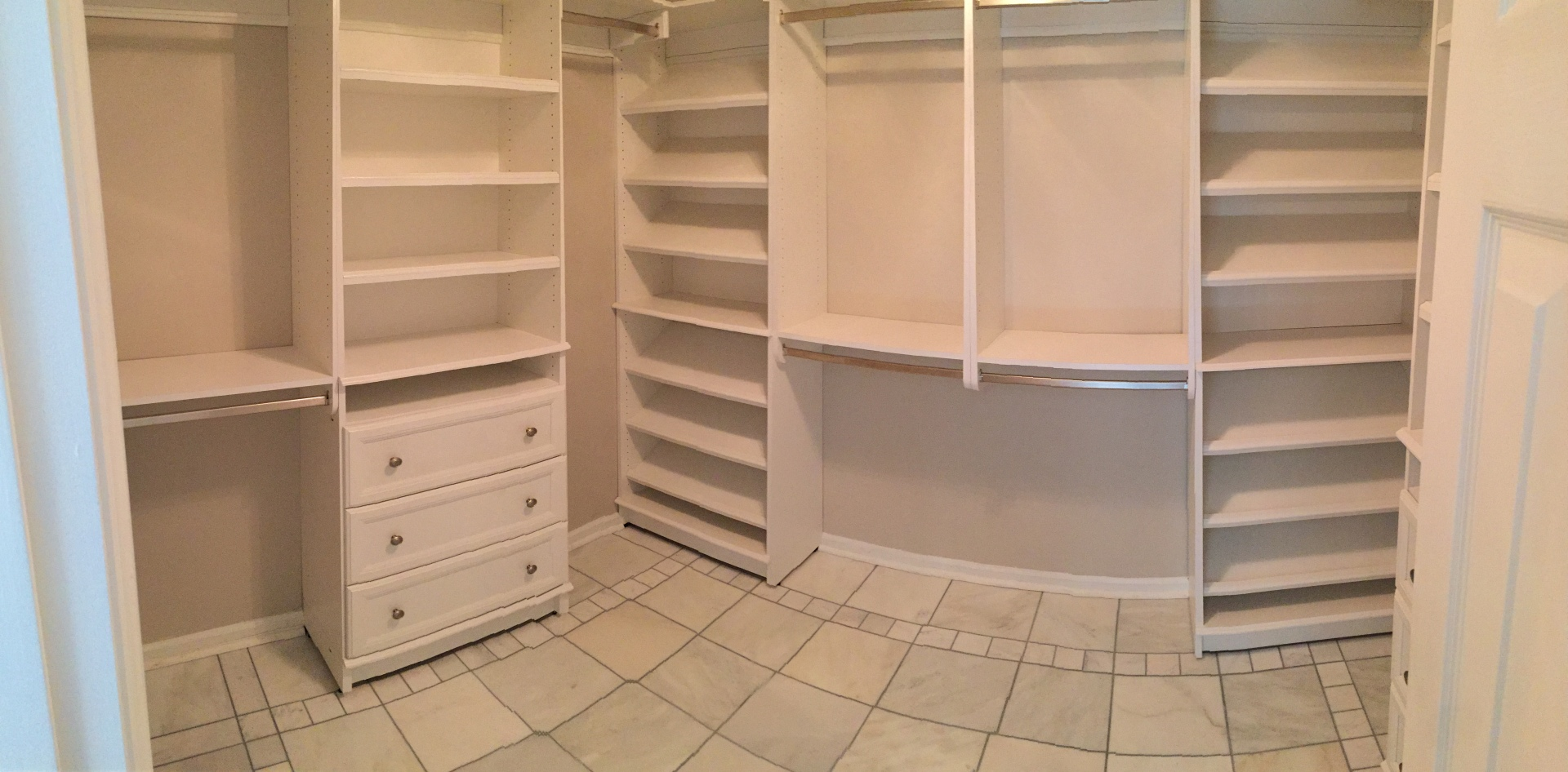closet, organize, rods, shelves, drawers