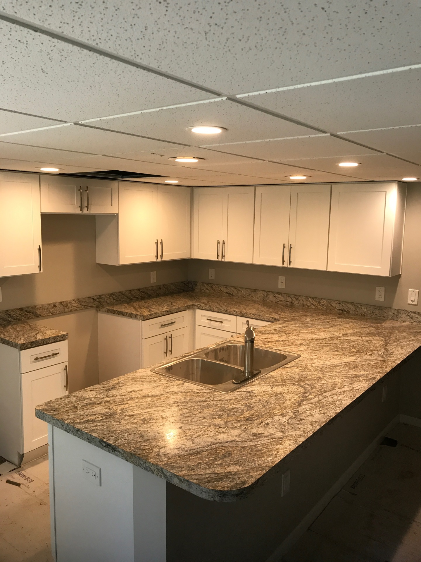 Cabinet Corp, white, Kitchen, cabinets, grey countertop