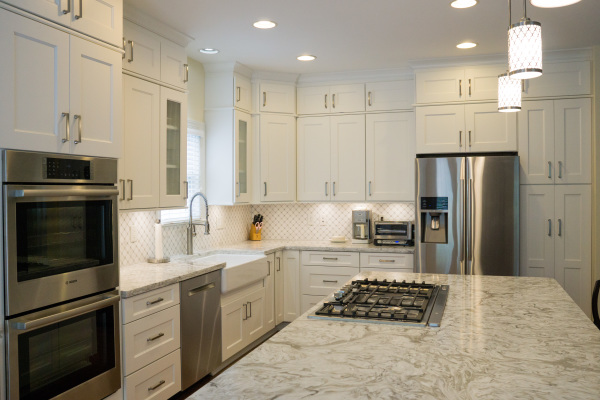 white, kitchen, cabinets, cabinet corp, stainless steel, double oven