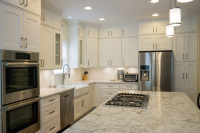 white, kitchen, cabinets, stainless steel
