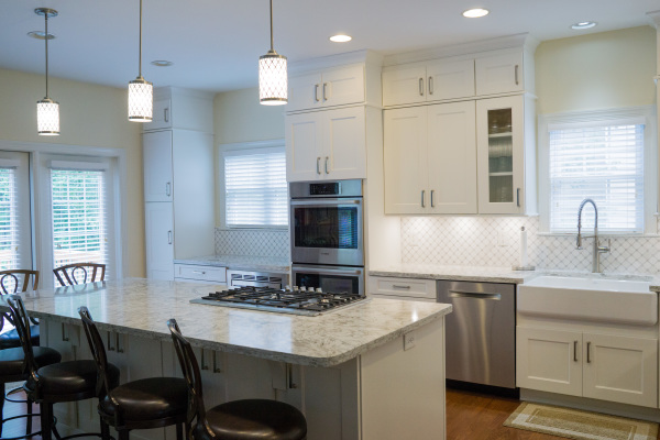 island, kitchen, family, baking, white, stainless steel