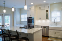 stainless settled, kitchen, white, cabinets