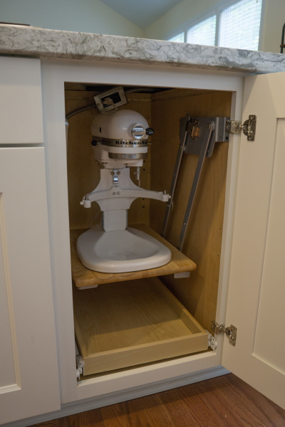 kitchen aid, mixer, mount, hidden, cabinet,