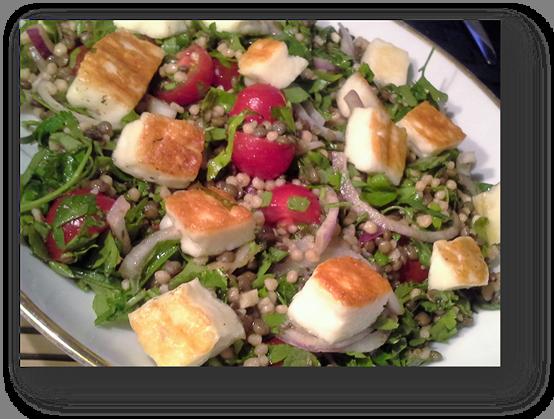Maftoul and Lentil Salad