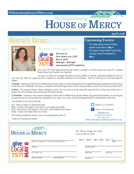 April 2018 Williamsburg House of Mercy Newsletter