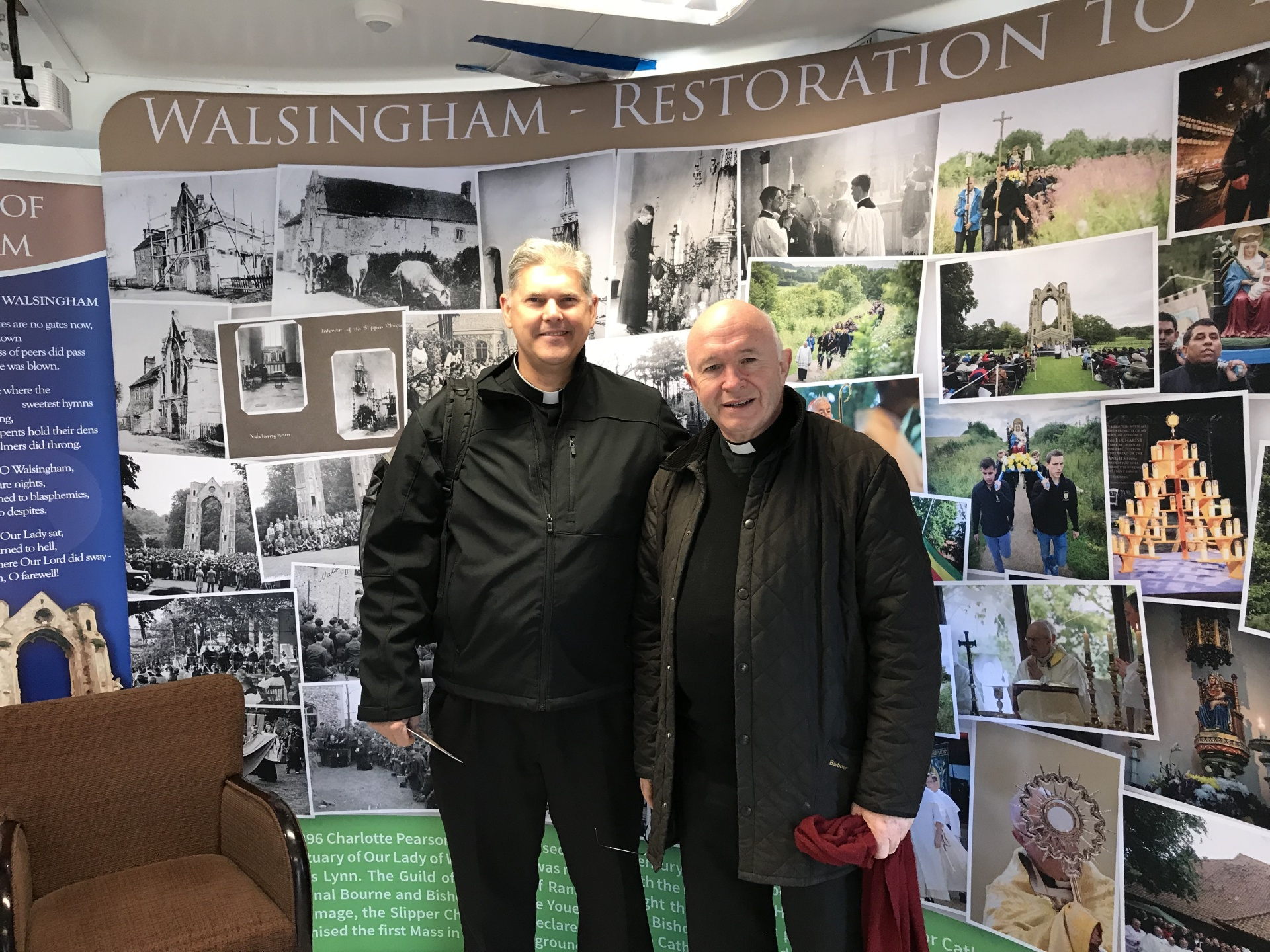 Monsignor Keeney (left) and Monsignor Armitage, rector of Walsingham Shrine in Norfolk, East Anglia (right)