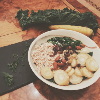 Lazy Sweet & Savory Kale Bowl