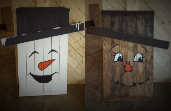 Reversible Scarecrow and Snowman sign