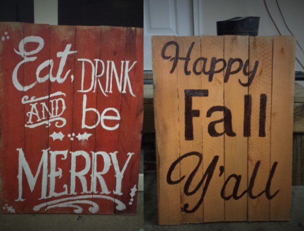 Reversible Fall and Christmas Sign