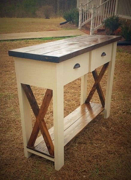 Two-Drawer Rustic X Entryway Table