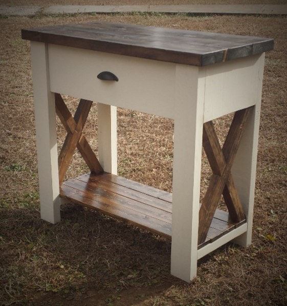 One drawer Rustic X Side Table