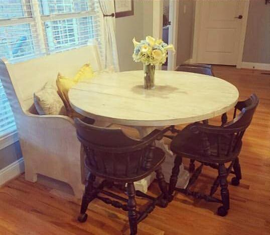 Round Pedestal Table & Pew