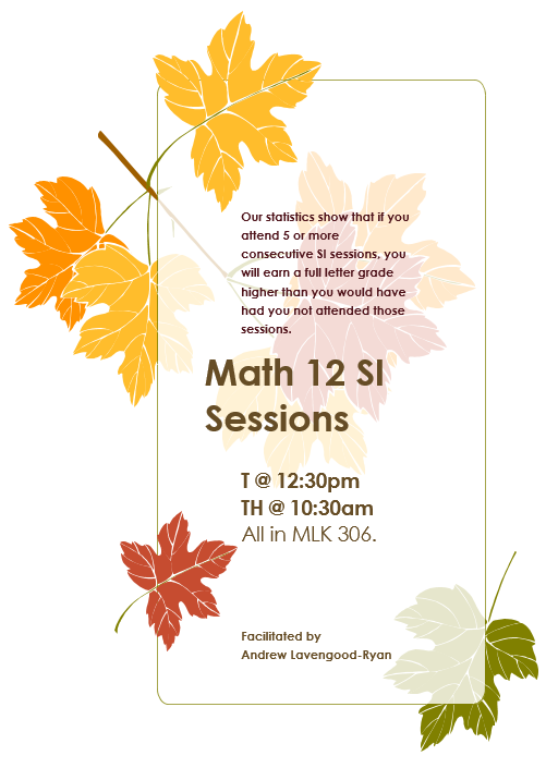 MAT-12 SI Session Flyer