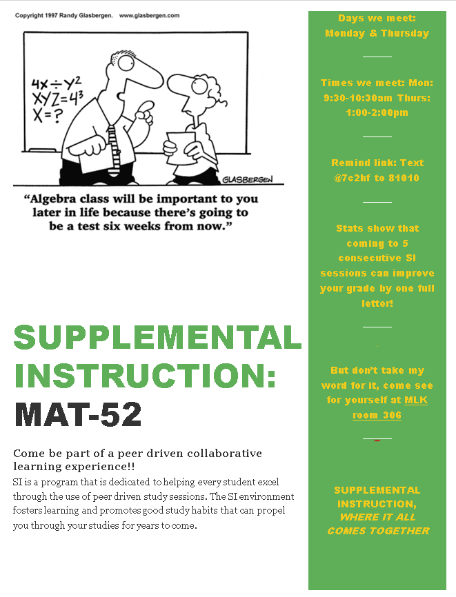 MAT-52 SI Session Flyer