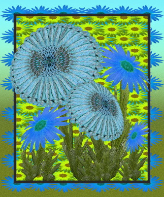 Snake-blue Sunflowers