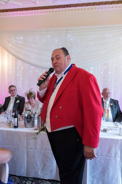 Master of Ceremonies in action as comedian at Wedding Reception