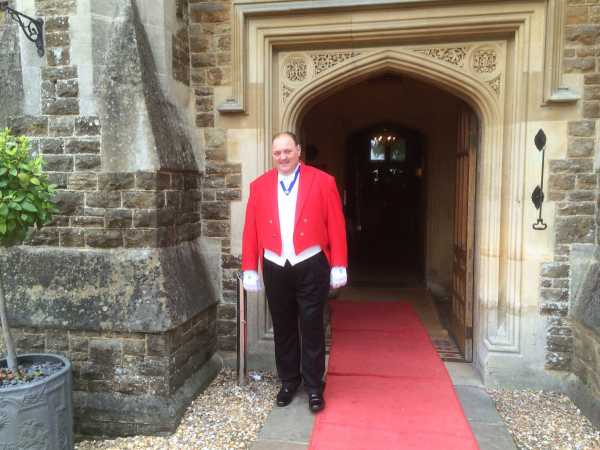 Entrance to Hartsfield Manor with Nick Ede Toastmaster presiding