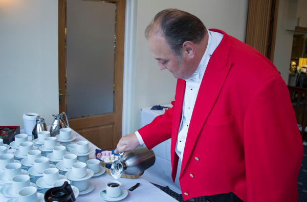 Even the Toastmaster sets to work pouring the coffee at the Wedding Reception