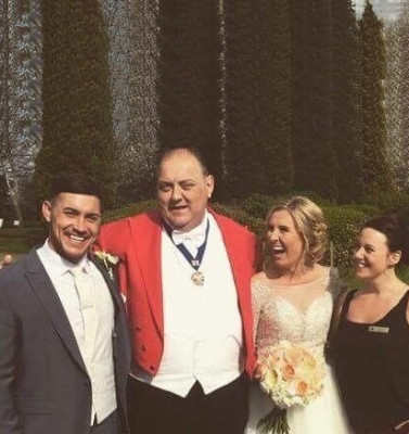 Amy and Addam with Nick, Toastmaster and Claire Wedding Co-ordinator