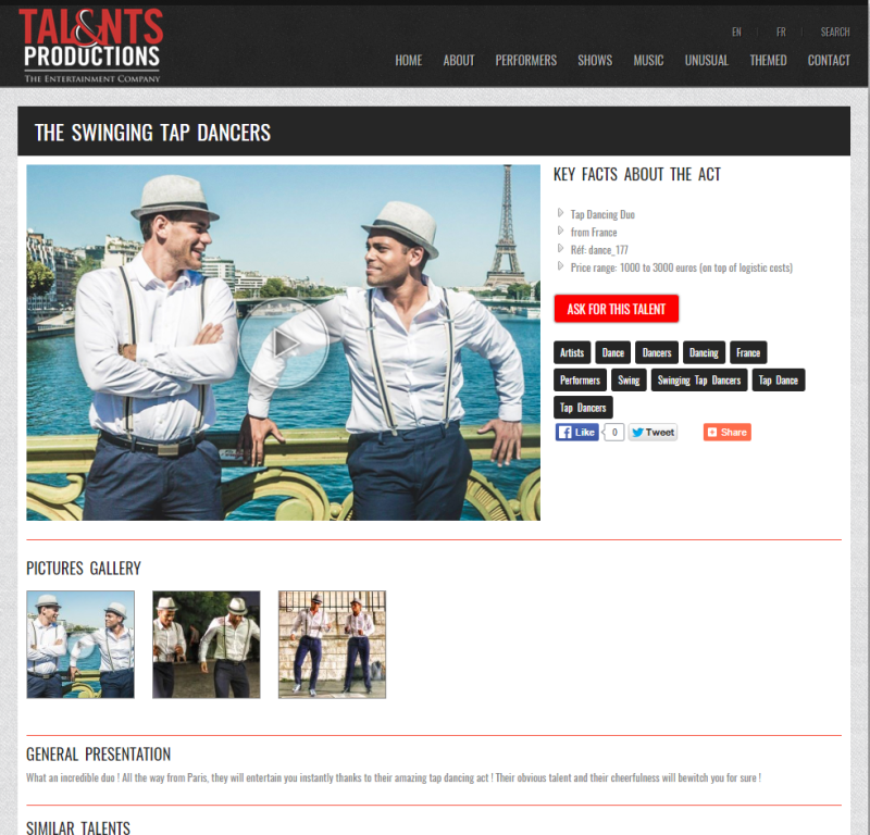 """The swinging tap dancers"" chez Talents & Productions"