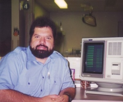 The author with an ekg monitor