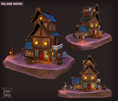 Low Poly House Scene