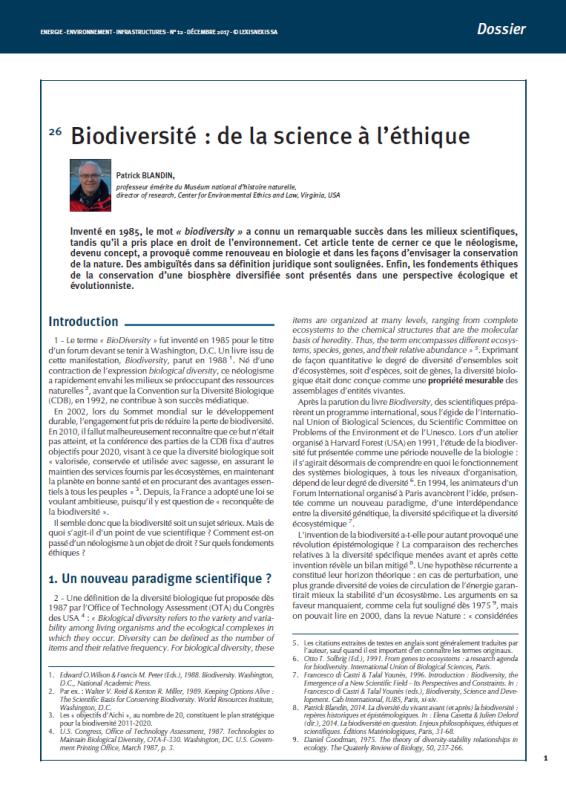 Biodiversité : de la science à l'éthique