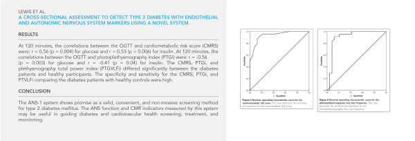 Lewis et al.  A cross-sectional assessment to detect Type 2 Diabetes with endothelial and autonomic nervous system markers using a novel system.