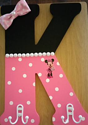"MINNIE MOUSE LETTER with HOOKS 18"" $45"