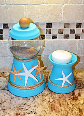 SEASHORE W/CANDLE HOLDER SET $35