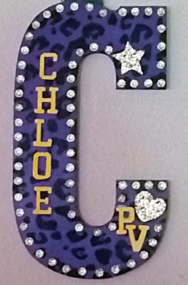 "PURPLE LEOPARD BLING 13.5"" $22"