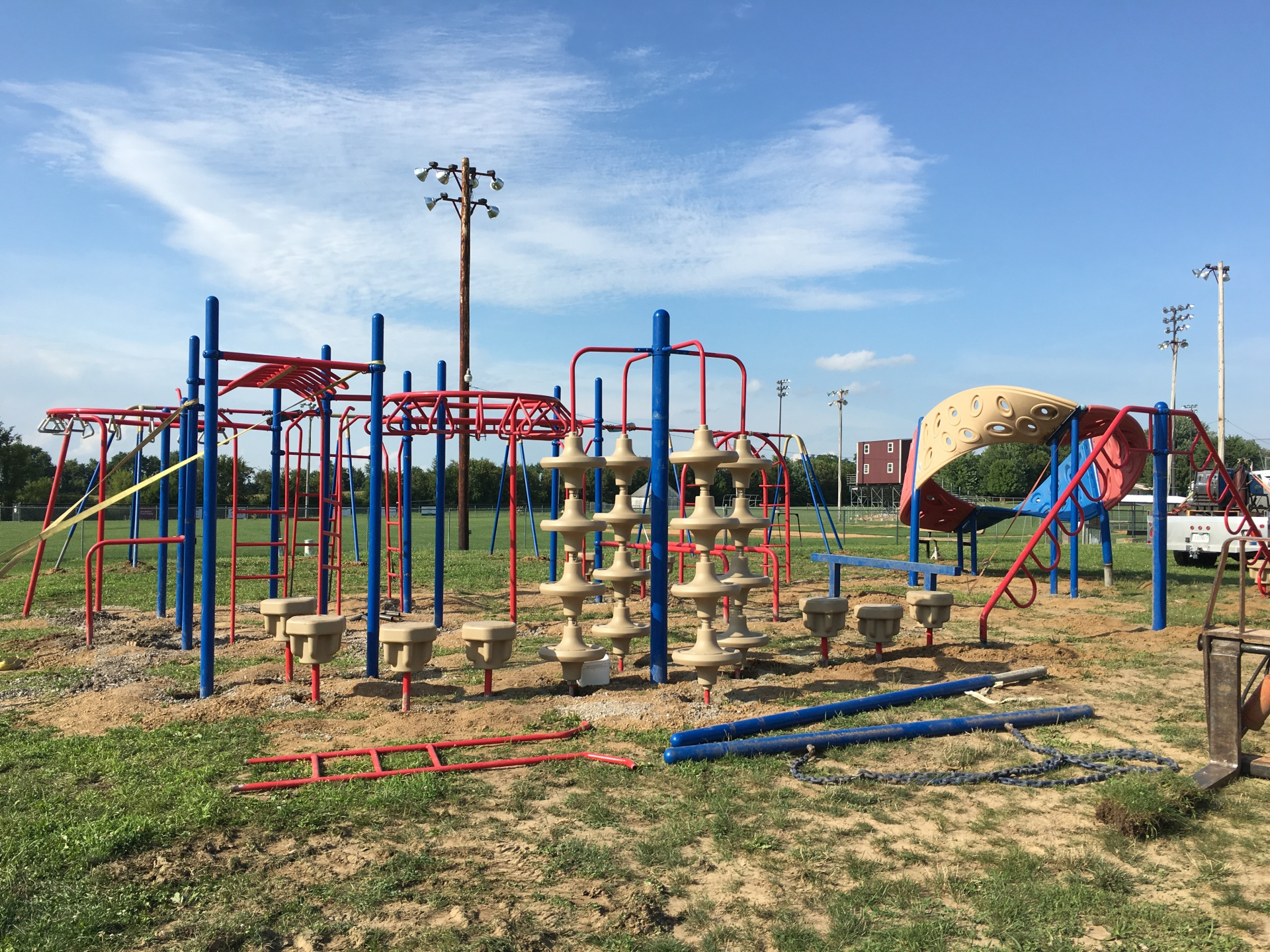 Moved playground equipment from Greenfield School to UMS
